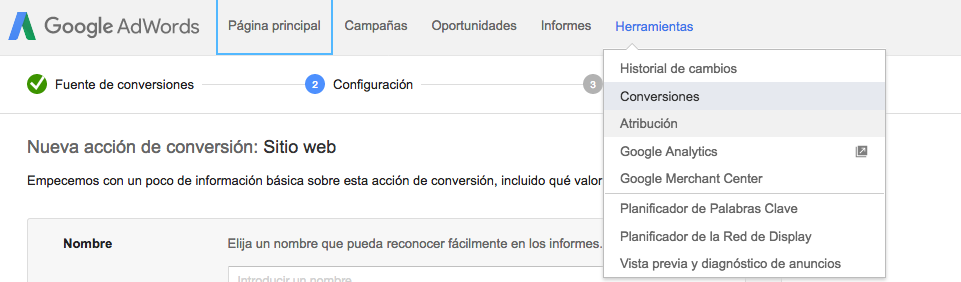 Google Adwords Conversiones