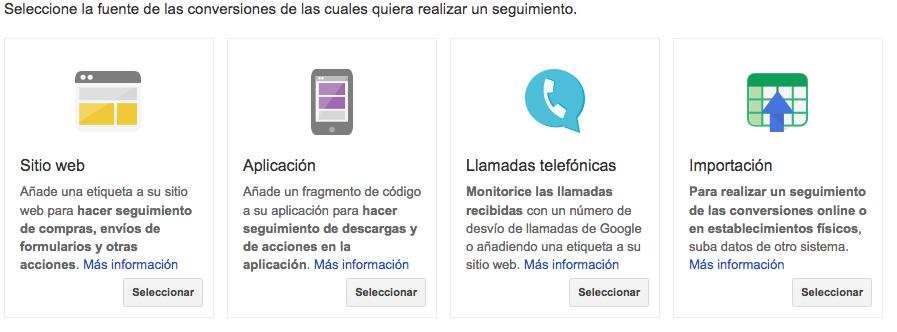 Google Adwords Tipos de Conversiones